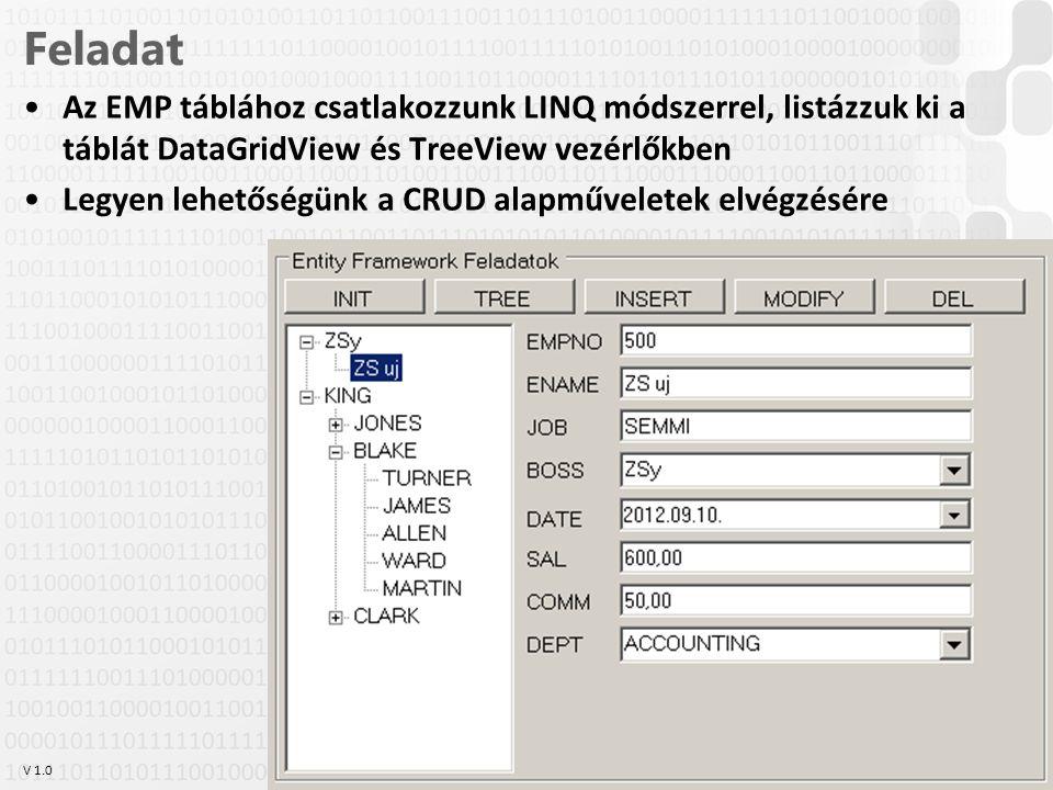 V 1.0 Feladat Az EMP táblához csatlakozzunk LINQ módszerrel, listázzuk ki a táblát DataGridView és TreeView vezérlőkben Legyen lehetőségünk a CRUD ala