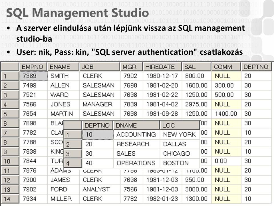 V 1.0 SQL Management Studio A szerver elindulása után lépjünk vissza az SQL management studio-ba User: nik, Pass: kin,