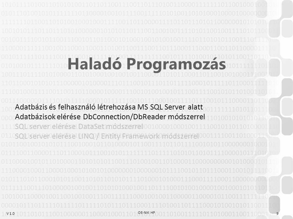 V 1.0 OE-NIK HP 9 Haladó Programozás Adatbázis és felhasználó létrehozása MS SQL Server alatt Adatbázisok elérése DbConnection/DbReader módszerrel SQL