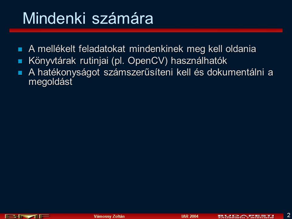 Vámossy Zoltán IAR 2004 2 Mindenki számára n A mellékelt feladatokat mindenkinek meg kell oldania n Könyvtárak rutinjai (pl.