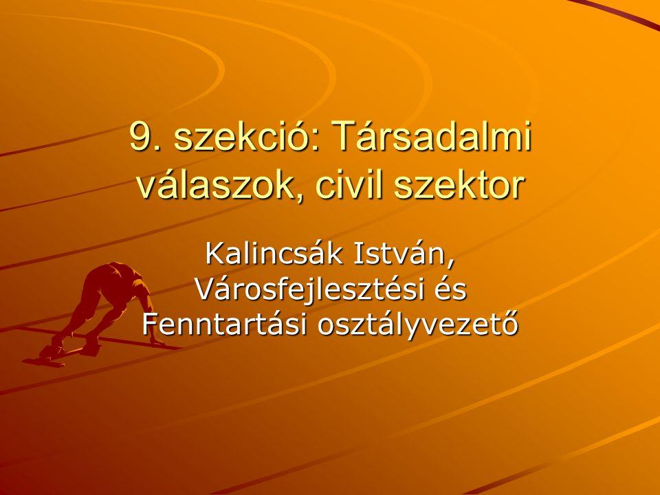 9. szekció: Társadalmi válaszok, civil szektor Kalincsák István, Városfejlesztési és Fenntartási osztályvezető
