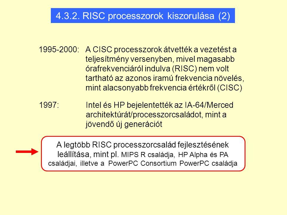 1995-2000: A CISC processzorok átvették a vezetést a teljesítmény versenyben, mivel magasabb órafrekvenciáról indulva (RISC) nem volt tartható az azonos iramú frekvencia növelés, mint alacsonyabb frekvencia értékről (CISC) A legtöbb RISC processzorcsalád fejlesztésének leállítása, mint pl.