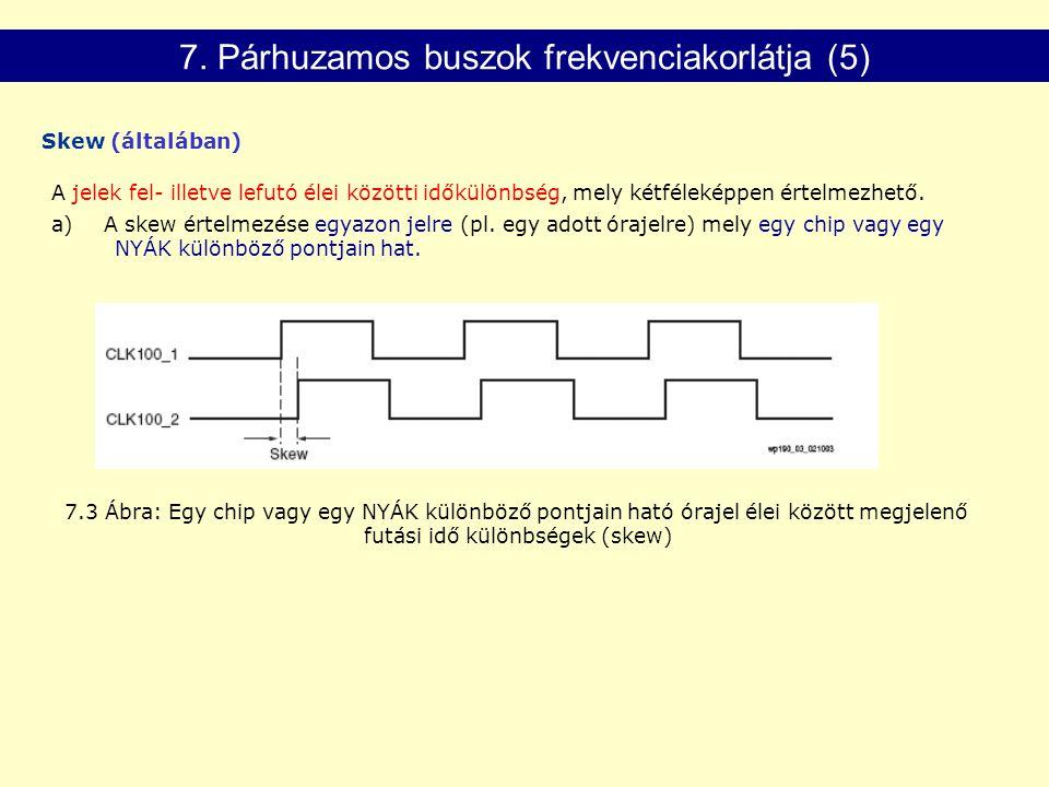 7.3 Ábra: Egy chip vagy egy NYÁK különböző pontjain ható órajel élei között megjelenő futási idő különbségek (skew) A jelek fel- illetve lefutó élei közötti időkülönbség, mely kétféleképpen értelmezhető.