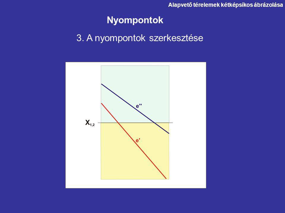 3. A nyompontok szerkesztése Nyompontok Alapvető térelemek kétképsíkos ábrázolása