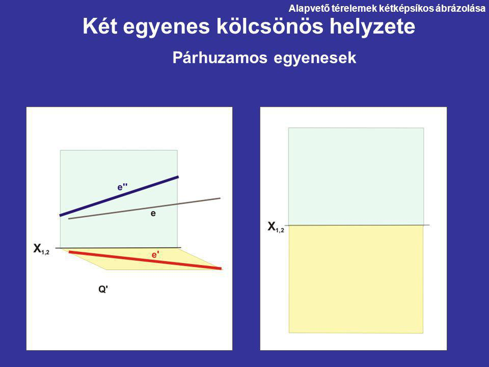 Két egyenes kölcsönös helyzete Párhuzamos egyenesek Alapvető térelemek kétképsíkos ábrázolása