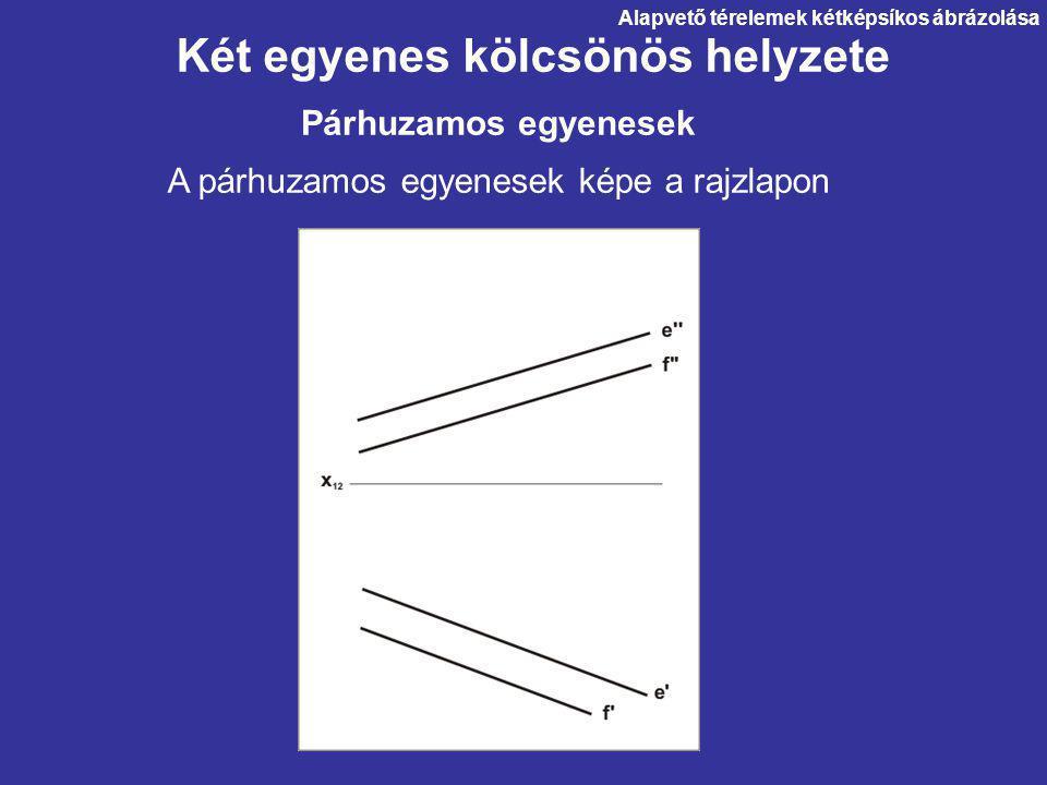 Két egyenes kölcsönös helyzete A párhuzamos egyenesek képe a rajzlapon Párhuzamos egyenesek Alapvető térelemek kétképsíkos ábrázolása