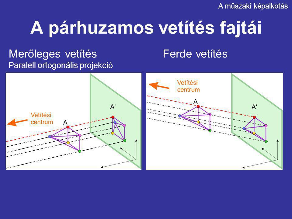 A párhuzamos vetítés fajtái A műszaki képalkotás Merőleges vetítés Paralell ortogonális projekció Ferde vetítés