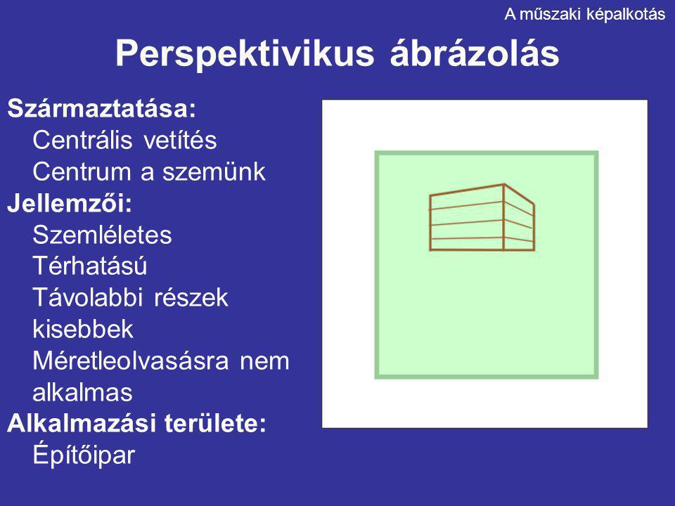 Perspektivikus ábrázolás Származtatása: Centrális vetítés Centrum a szemünk Jellemzői: Szemléletes Térhatású Távolabbi részek kisebbek Méretleolvasásra nem alkalmas Alkalmazási területe: Építőipar A műszaki képalkotás