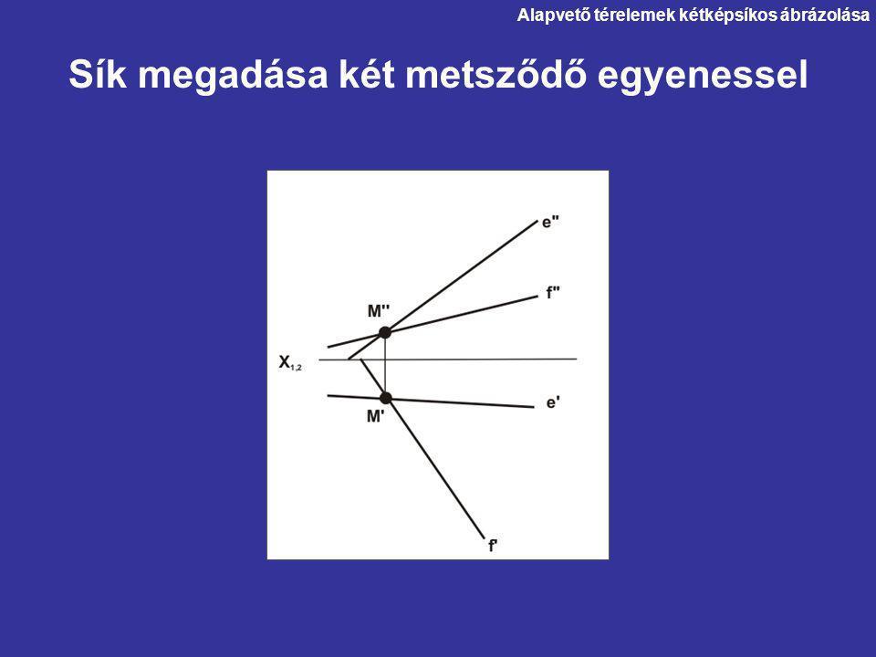 Alapvető térelemek kétképsíkos ábrázolása Sík megadása két metsződő egyenessel