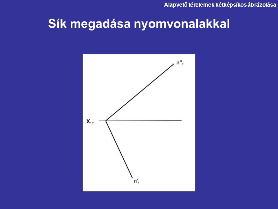 Alapvető térelemek kétképsíkos ábrázolása Sík megadása nyomvonalakkal