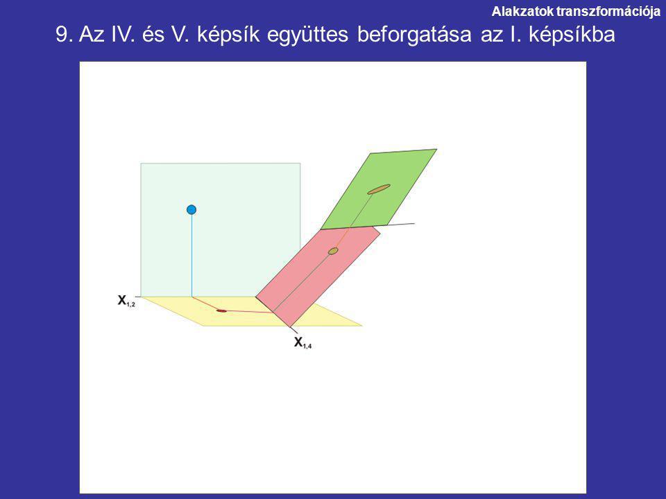 Alakzatok transzformációja. 9. Az IV. és V. képsík együttes beforgatása az I. képsíkba