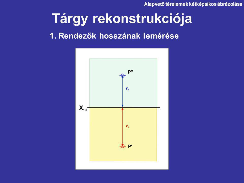 Tárgy rekonstrukciója 1. Rendezők hosszának lemérése Alapvető térelemek kétképsíkos ábrázolása