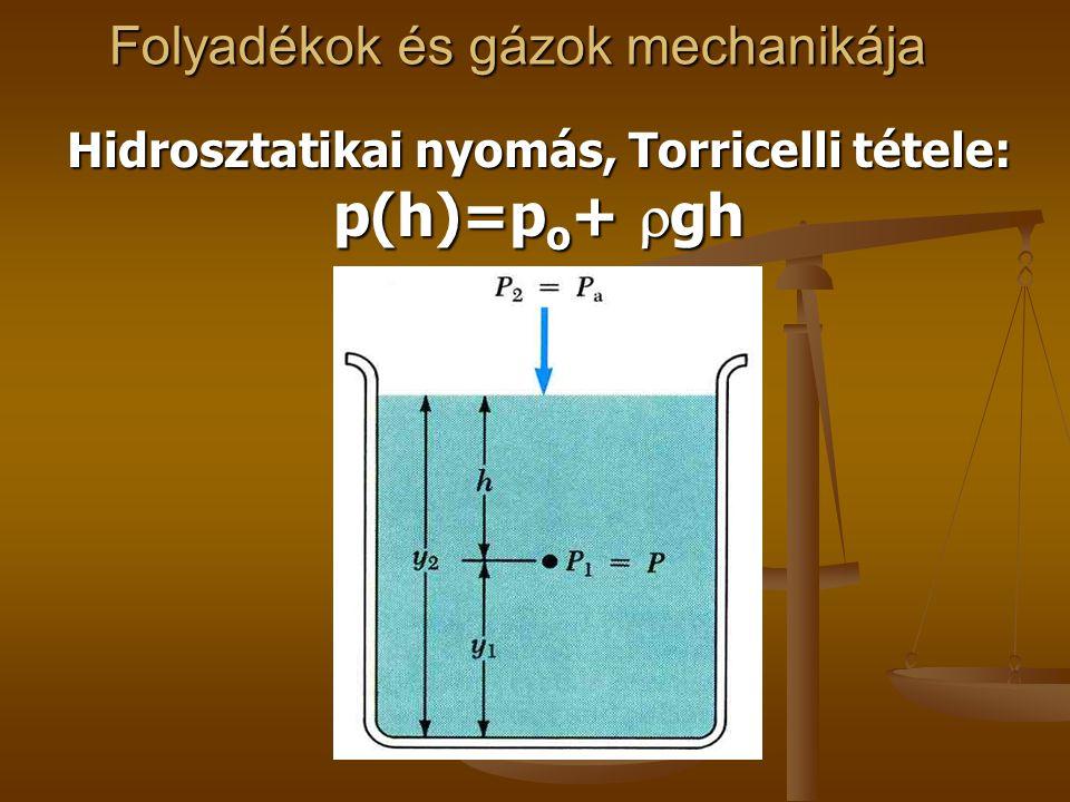 Folyadékok és gázok mechanikája Hidrosztatikai nyomás, Torricelli tétele: p(h)=p o +  gh