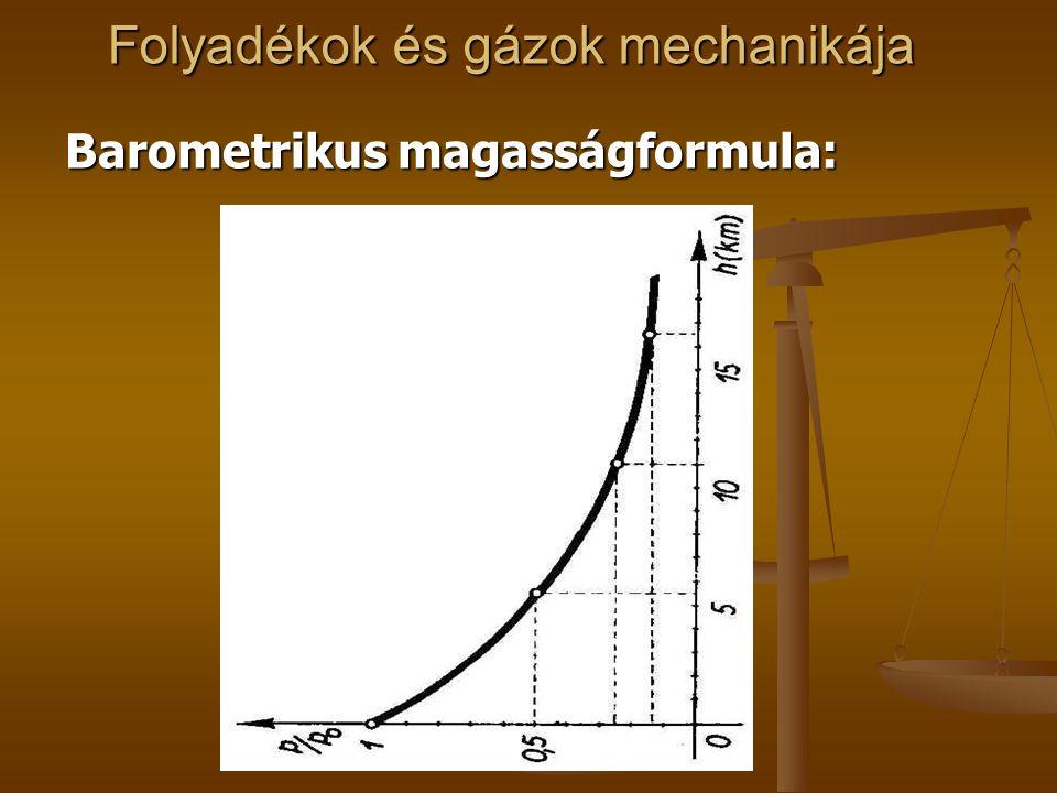 Folyadékok és gázok mechanikája Barometrikus magasságformula: