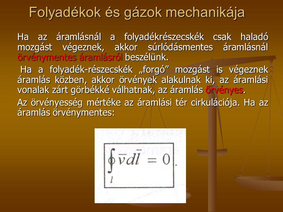 Folyadékok és gázok mechanikája Ha az áramlásnál a folyadékrészecskék csak haladó mozgást végeznek, akkor súrlódásmentes áramlásnál örvénymentes áraml