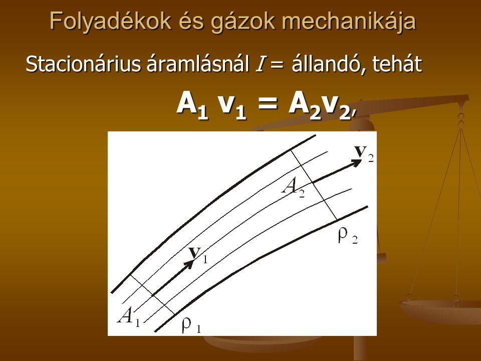 Folyadékok és gázok mechanikája Stacionárius áramlásnál I = állandó, tehát A 1 v 1 = A 2 v 2, A 1 v 1 = A 2 v 2,