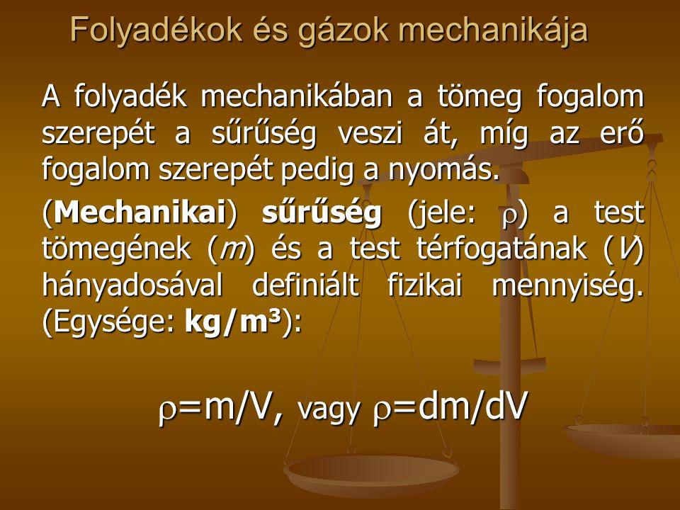 Folyadékok és gázok mechanikája A folyadék mechanikában a tömeg fogalom szerepét a sűrűség veszi át, míg az erő fogalom szerepét pedig a nyomás. (Mech