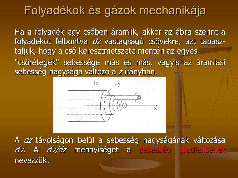 Folyadékok és gázok mechanikája Ha a folyadék egy csőben áramlik, akkor az ábra szerint a folyadékot felbontva dz vastagságú csövekre, azt tapasz- tal