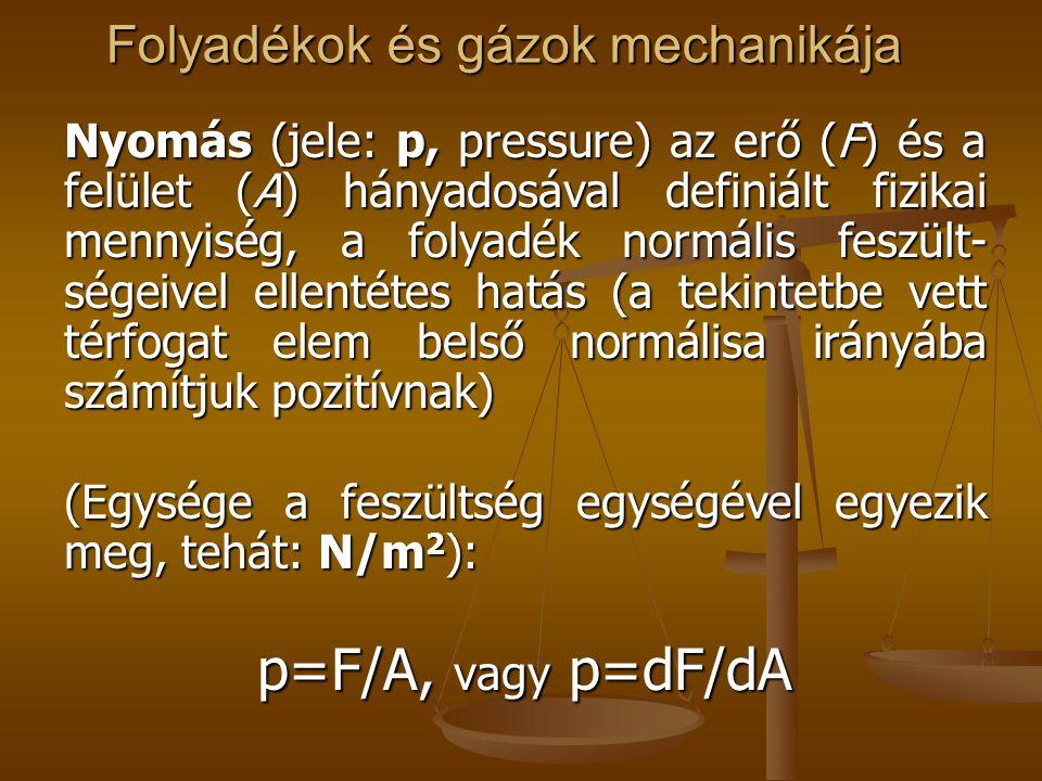 Folyadékok és gázok mechanikája Nyomás (jele: p, pressure) az erő (F) és a felület (A) hányadosával definiált fizikai mennyiség, a folyadék normális f