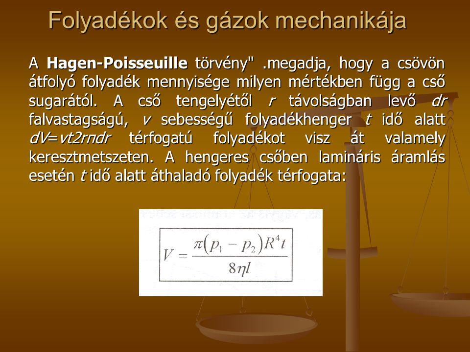 Folyadékok és gázok mechanikája A Hagen-Poisseuille törvény