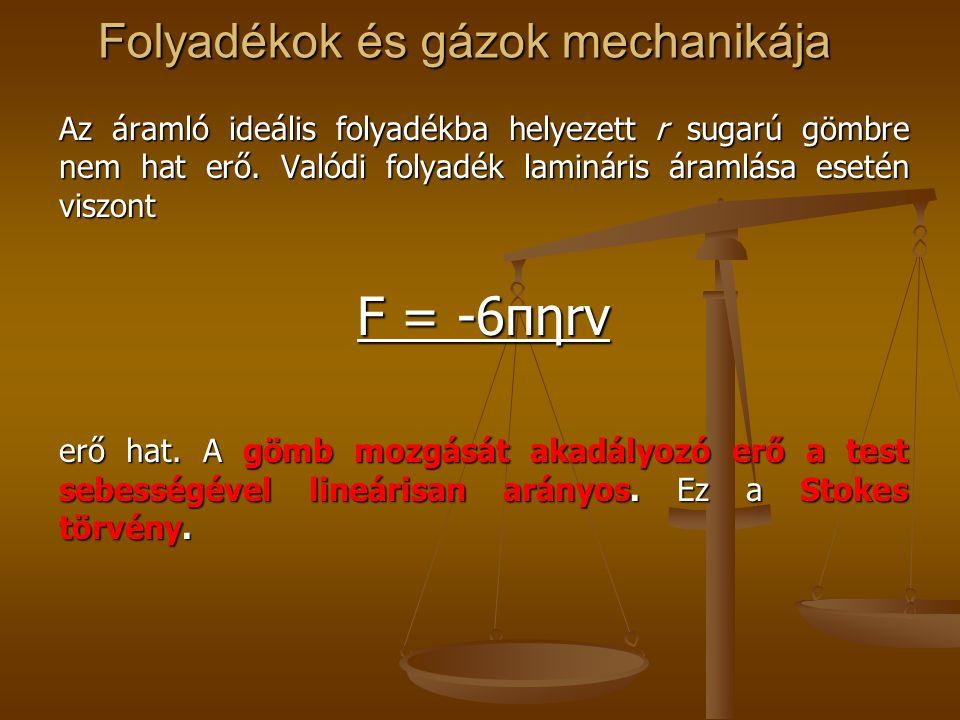 Folyadékok és gázok mechanikája Az áramló ideális folyadékba helyezett r sugarú gömbre nem hat erő. Valódi folyadék lamináris áramlása esetén viszont