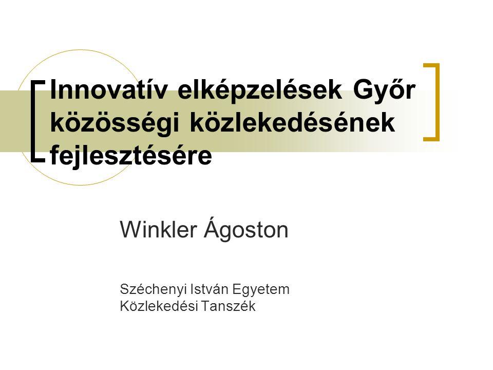 Innovatív elképzelések Győr közösségi közlekedésének fejlesztésére Winkler Ágoston Széchenyi István Egyetem Közlekedési Tanszék