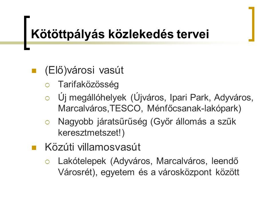 Kötöttpályás közlekedés tervei (Elő)városi vasút  Tarifaközösség  Új megállóhelyek (Újváros, Ipari Park, Adyváros, Marcalváros,TESCO, Ménfőcsanak-lakópark)  Nagyobb járatsűrűség (Győr állomás a szűk keresztmetszet!) Közúti villamosvasút  Lakótelepek (Adyváros, Marcalváros, leendő Városrét), egyetem és a városközpont között