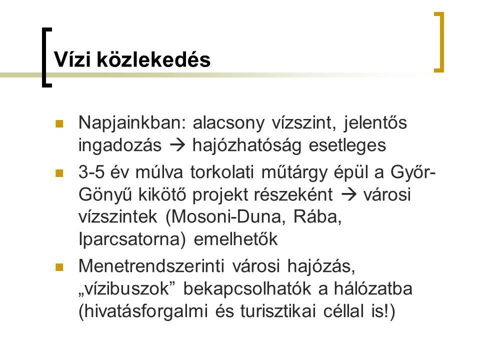 """Vízi közlekedés Napjainkban: alacsony vízszint, jelentős ingadozás  hajózhatóság esetleges 3-5 év múlva torkolati műtárgy épül a Győr- Gönyű kikötő projekt részeként  városi vízszintek (Mosoni-Duna, Rába, Iparcsatorna) emelhetők Menetrendszerinti városi hajózás, """"vízibuszok bekapcsolhatók a hálózatba (hivatásforgalmi és turisztikai céllal is!)"""