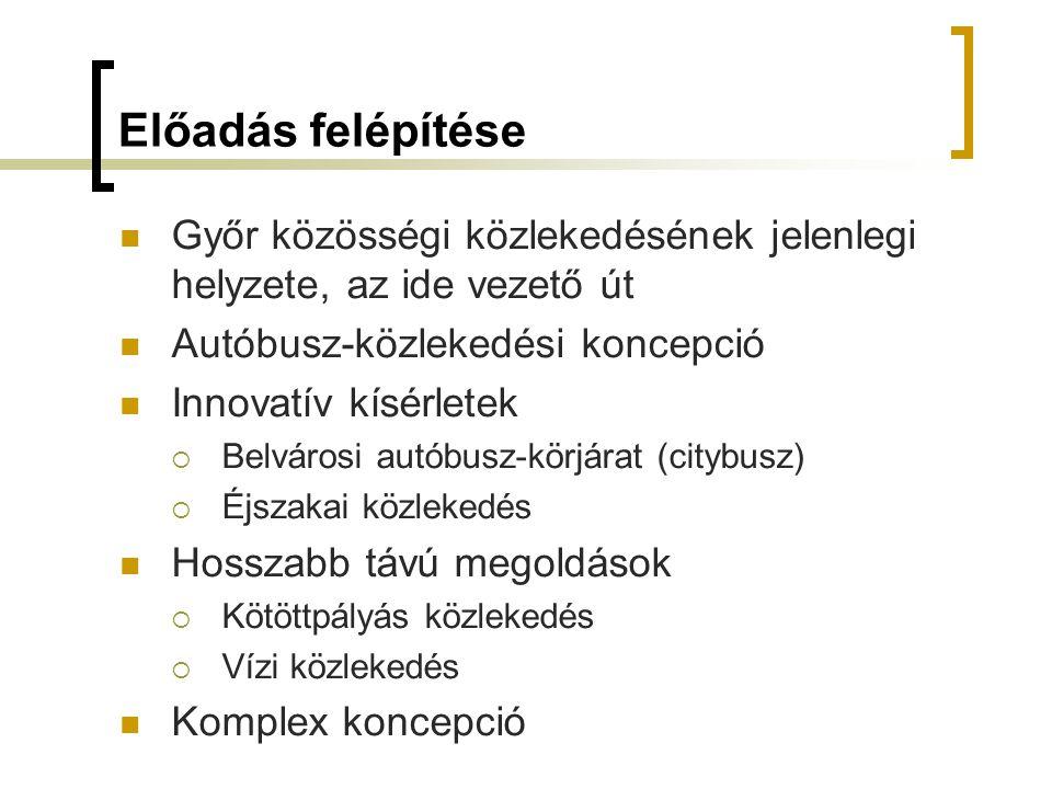 Előadás felépítése Győr közösségi közlekedésének jelenlegi helyzete, az ide vezető út Autóbusz-közlekedési koncepció Innovatív kísérletek  Belvárosi autóbusz-körjárat (citybusz)  Éjszakai közlekedés Hosszabb távú megoldások  Kötöttpályás közlekedés  Vízi közlekedés Komplex koncepció