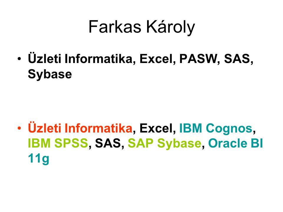 Farkas Károly Üzleti Informatika, Excel, PASW, SAS, Sybase Üzleti Informatika, Excel, IBM Cognos, IBM SPSS, SAS, SAP Sybase, Oracle BI 11g