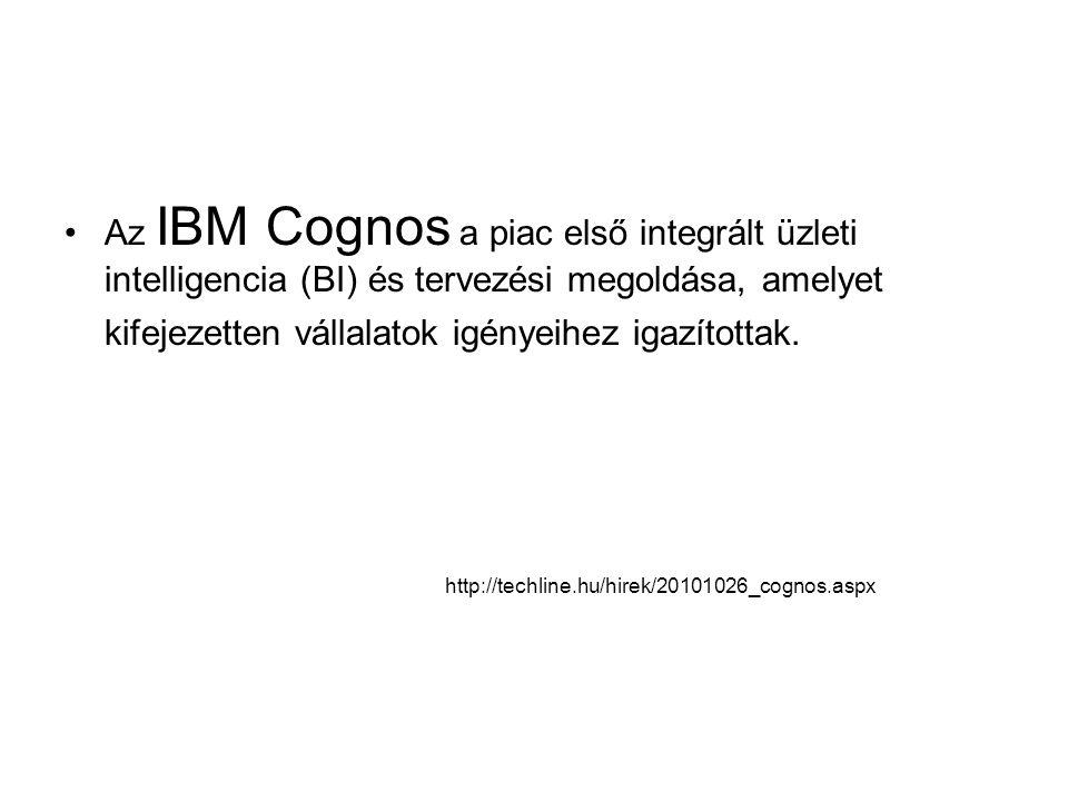 http://techline.hu/hirek/20101026_cognos.aspx Az IBM Cognos a piac első integrált üzleti intelligencia (BI) és tervezési megoldása, amelyet kifejezetten vállalatok igényeihez igazítottak.