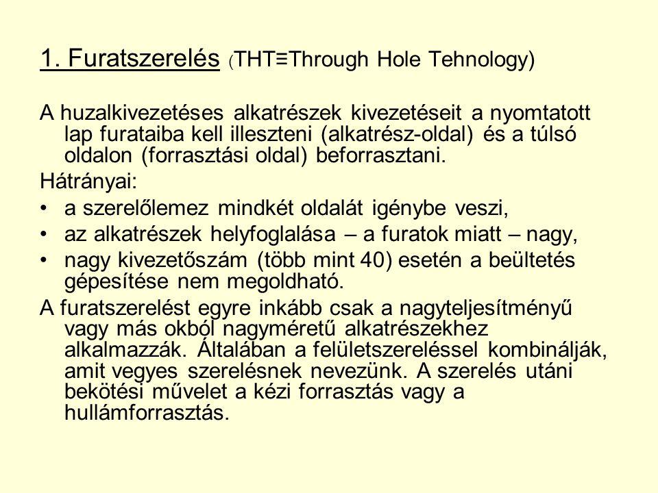 1. Furatszerelés ( THT≡Through Hole Tehnology) A huzalkivezetéses alkatrészek kivezetéseit a nyomtatott lap furataiba kell illeszteni (alkatrész-oldal