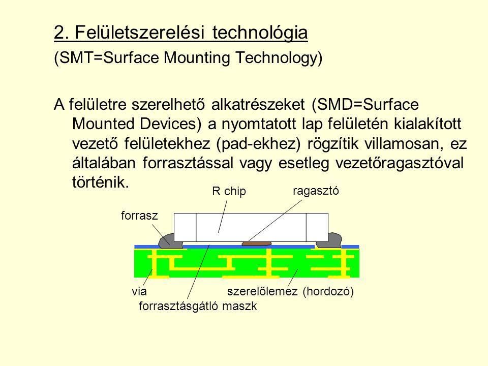 2. Felületszerelési technológia (SMT=Surface Mounting Technology) A felületre szerelhető alkatrészeket (SMD=Surface Mounted Devices) a nyomtatott lap