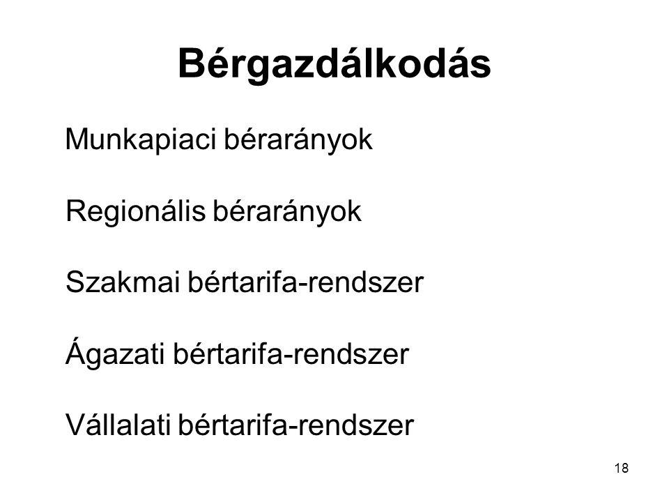 18 Bérgazdálkodás Munkapiaci bérarányok Regionális bérarányok Szakmai bértarifa-rendszer Ágazati bértarifa-rendszer Vállalati bértarifa-rendszer