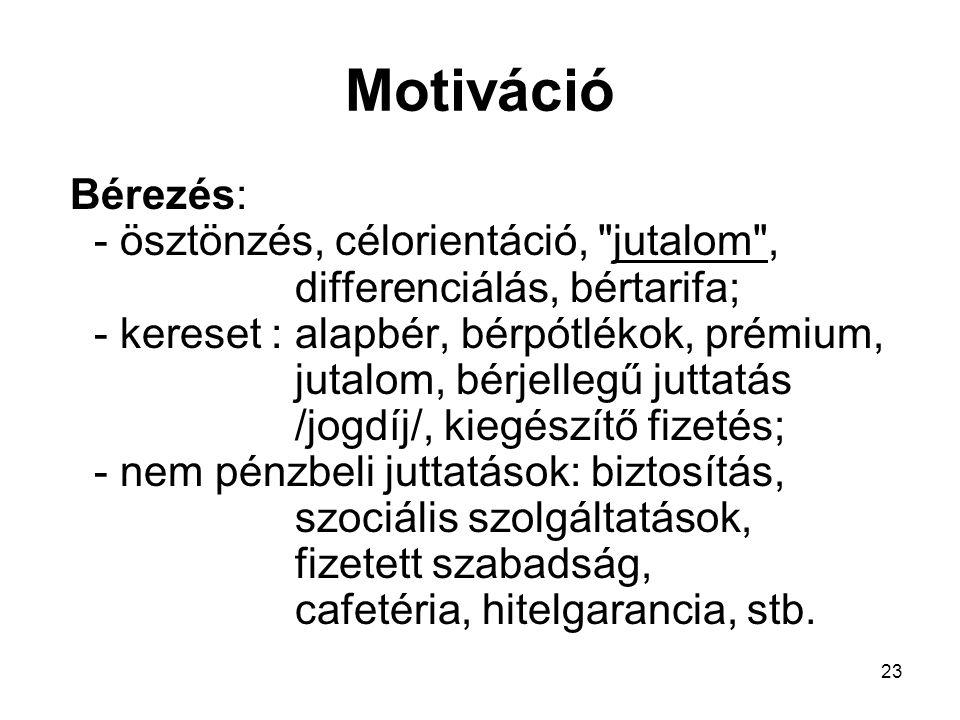 23 Motiváció Bérezés: - ösztönzés, célorientáció,