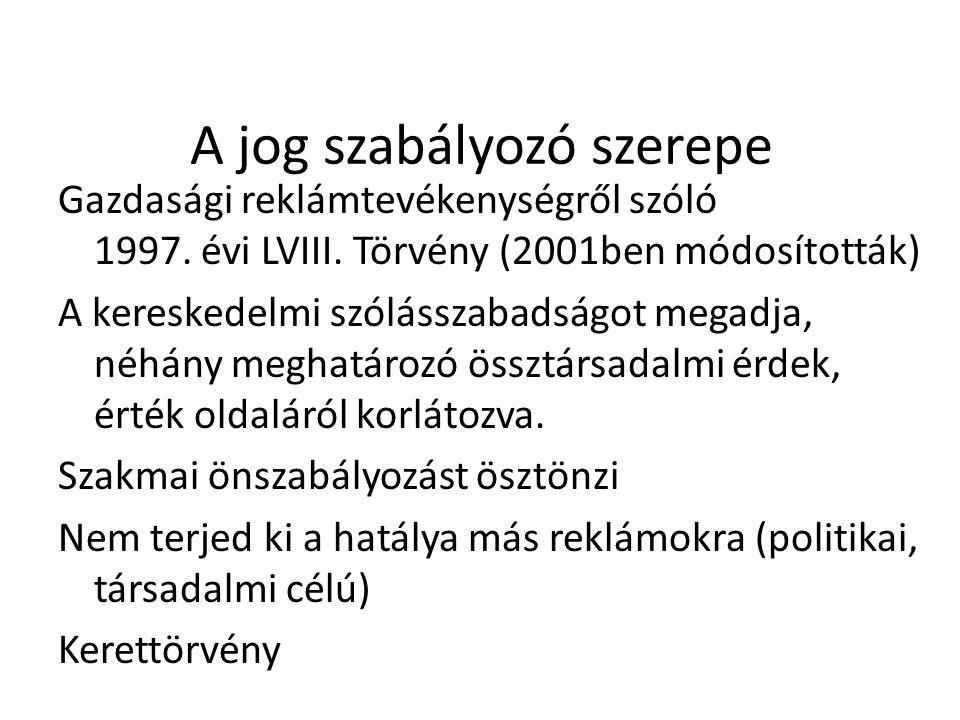 A jog szabályozó szerepe Gazdasági reklámtevékenységről szóló 1997. évi LVIII. Törvény (2001ben módosították) A kereskedelmi szólásszabadságot megadja