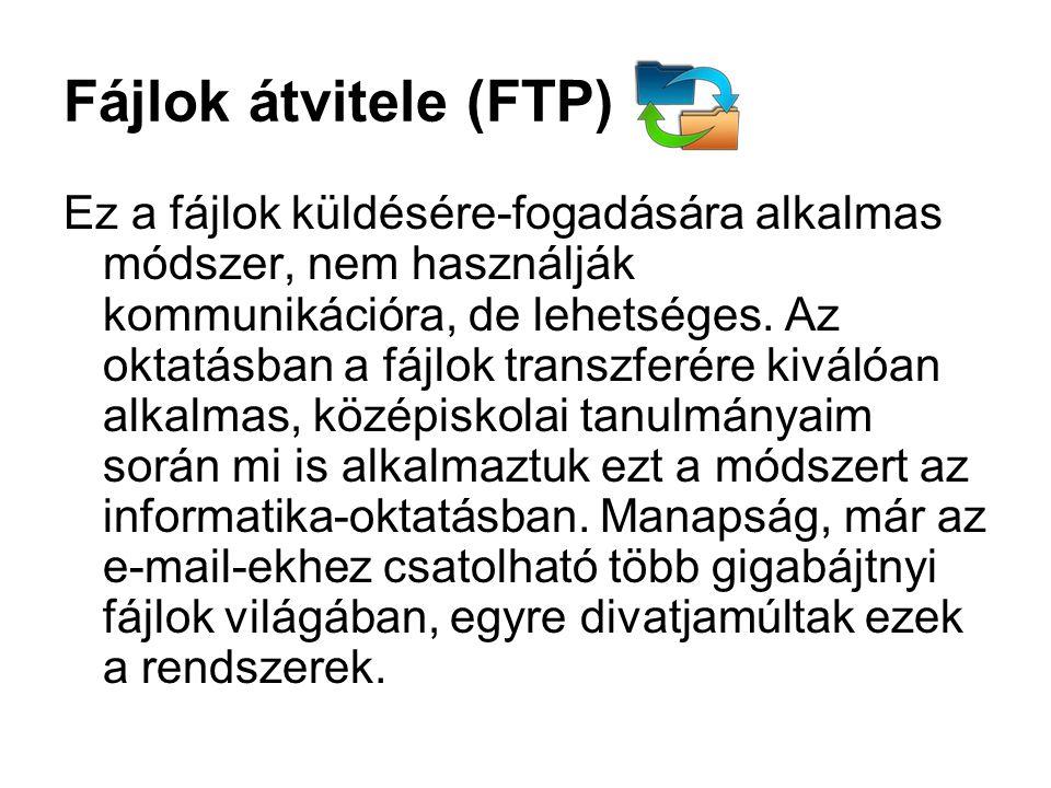 Fájlok átvitele (FTP) Ez a fájlok küldésére-fogadására alkalmas módszer, nem használják kommunikációra, de lehetséges.