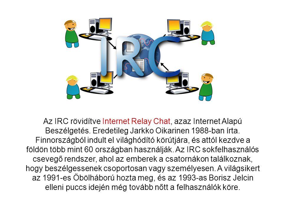 Az IRC rövidítve Internet Relay Chat, azaz Internet Alapú Beszélgetés.