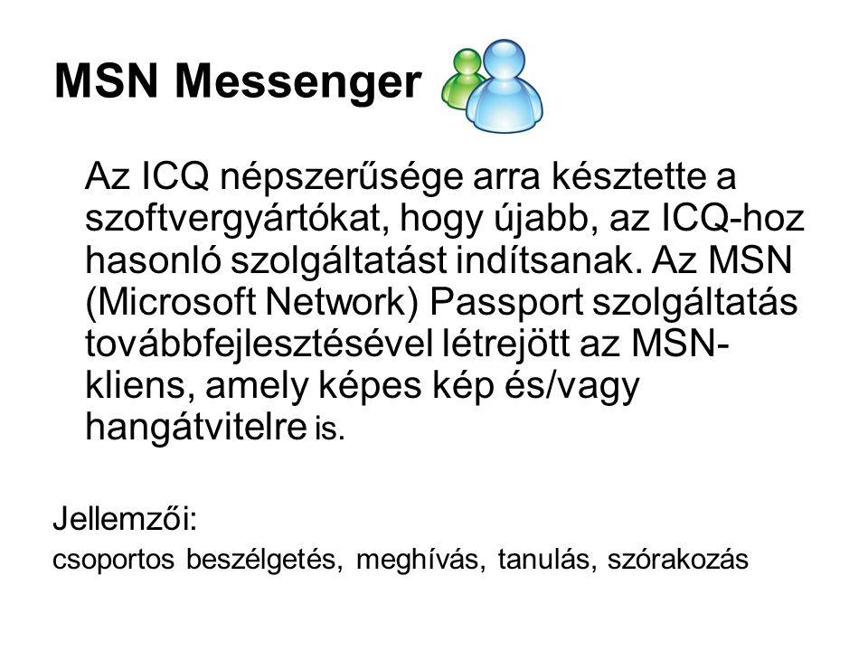 MSN Messenger Az ICQ népszerűsége arra késztette a szoftvergyártókat, hogy újabb, az ICQ-hoz hasonló szolgáltatást indítsanak.