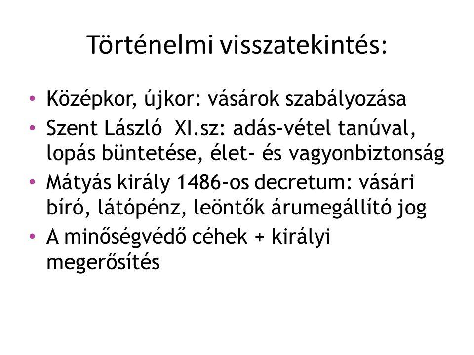 Történelmi visszatekintés: Középkor, újkor: vásárok szabályozása Szent László XI.sz: adás-vétel tanúval, lopás büntetése, élet- és vagyonbiztonság Mát