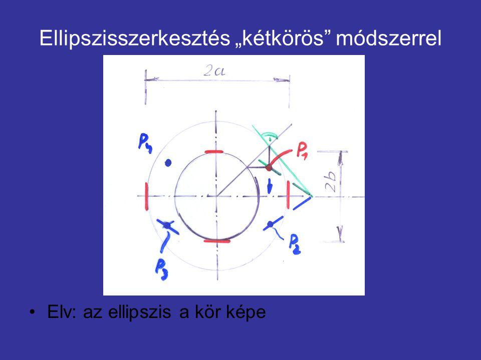 """Ellipszisszerkesztés """"kétkörös"""" módszerrel Elv: az ellipszis a kör képe"""