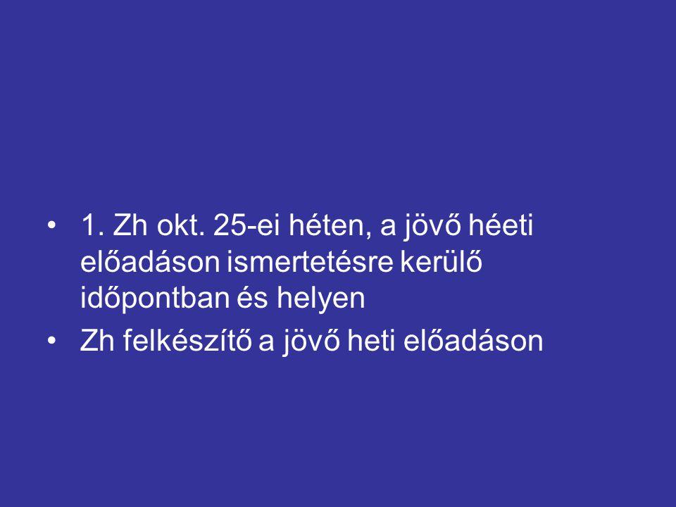 1. Zh okt. 25-ei héten, a jövő héeti előadáson ismertetésre kerülő időpontban és helyen Zh felkészítő a jövő heti előadáson