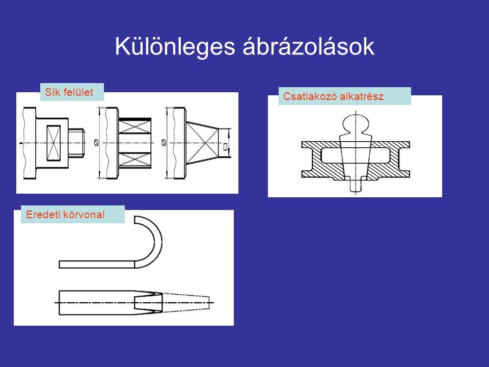 Különleges ábrázolások Sík felület Csatlakozó alkatrész Eredeti körvonal