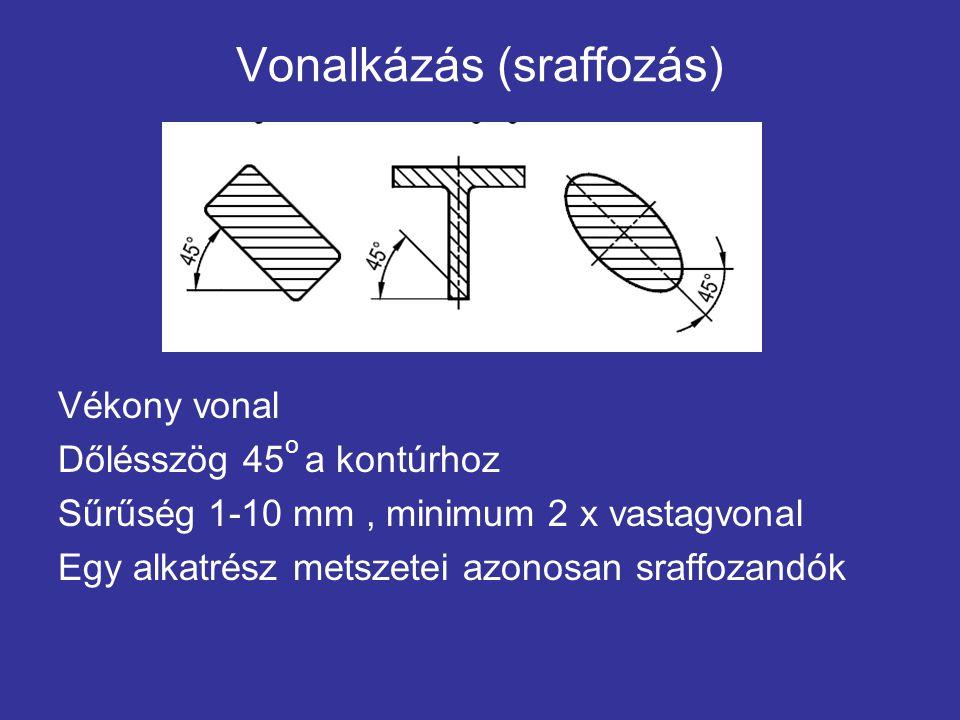 Vonalkázás (sraffozás) Vékony vonal Dőlésszög 45 o a kontúrhoz Sűrűség 1-10 mm, minimum 2 x vastagvonal Egy alkatrész metszetei azonosan sraffozandók