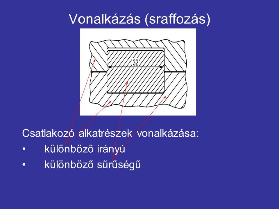 Vonalkázás (sraffozás) Csatlakozó alkatrészek vonalkázása: különböző irányú különböző sűrűségű