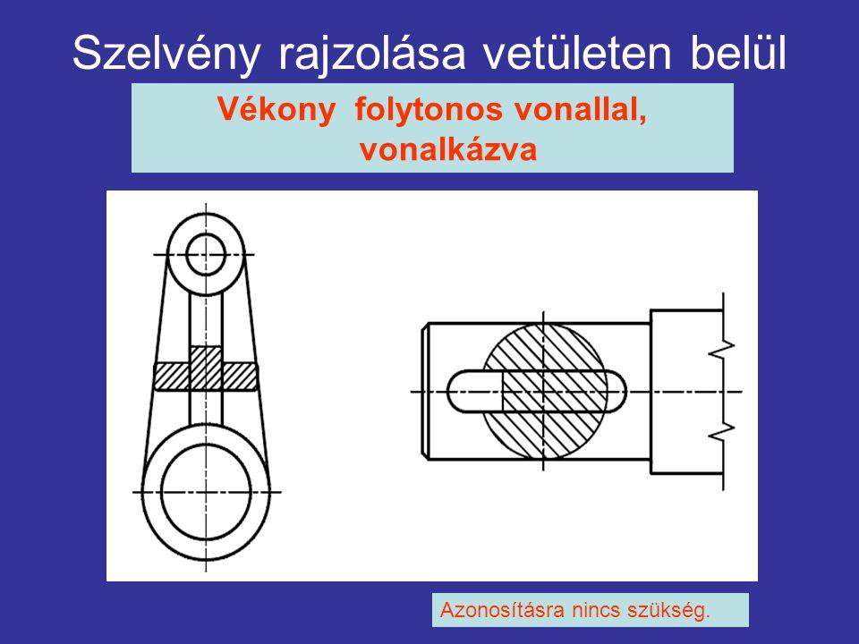 Szelvény rajzolása vetületen belül Vékony folytonos vonallal, vonalkázva Azonosításra nincs szükség.