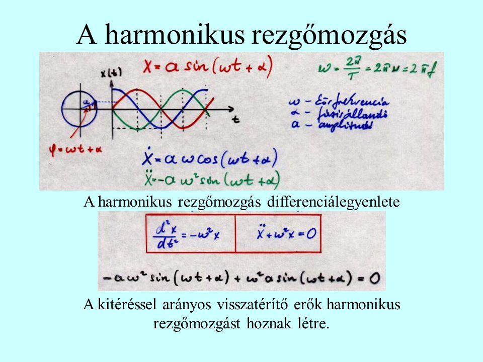 A harmonikus rezgőmozgás A harmonikus rezgőmozgás differenciálegyenlete A kitéréssel arányos visszatérítő erők harmonikus rezgőmozgást hoznak létre.