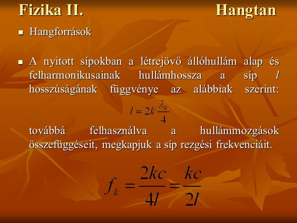 Fizika II. Hangtan A nyitott sípokban a létrejövő állóhullám alap és felharmonikusainak hullámhossza a síp l hosszúságának függvénye az alábbiak szeri