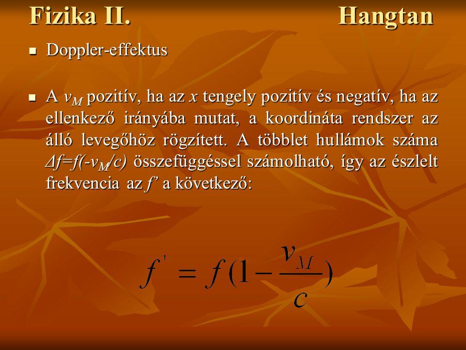 Fizika II. Hangtan A v M pozitív, ha az x tengely pozitív és negatív, ha az ellenkező irányába mutat, a koordináta rendszer az álló levegőhöz rögzítet