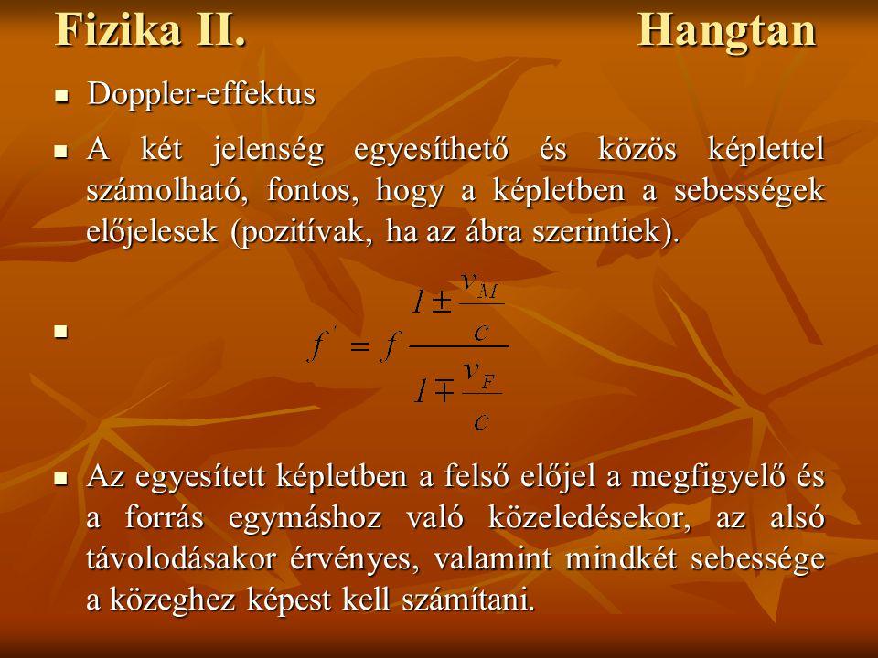 Fizika II. Hangtan A két jelenség egyesíthető és közös képlettel számolható, fontos, hogy a képletben a sebességek előjelesek (pozitívak, ha az ábra s